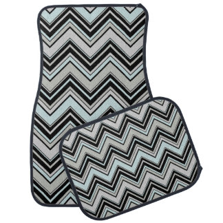 Zigzag Pattern, Chevron Pattern - Black Blue Gray Car Mat