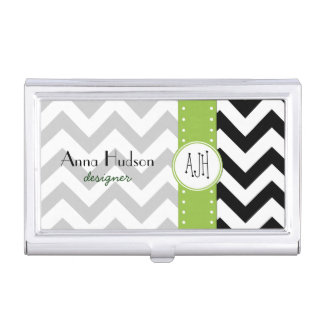 Zigzag Pattern, Chevron Pattern - White Black Business Card Case