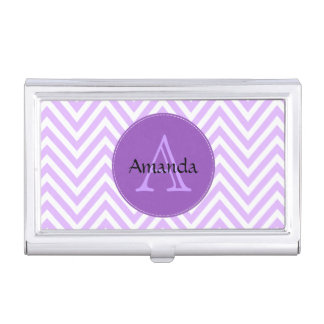 Zigzag Pattern, Chevron Pattern - White Purple Case For Business Cards
