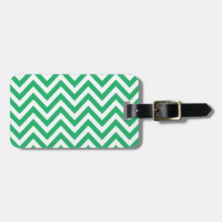 Zigzag Pattern Emerald Spring Green and White Chev Luggage Tag