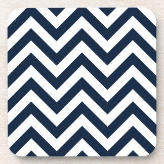 Zigzag Pattern Navy Blue & White Coaster