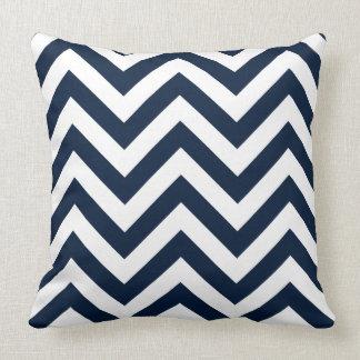 Zigzag Pattern Navy Blue & White Cushion