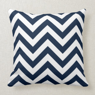 Zigzag Pattern Navy Blue & White Throw Pillow