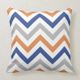Zigzag Pattern Orange Blue Grey & White Throw Pillow