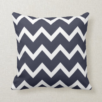 Zigzag Pillow with Navy Blue Chevron