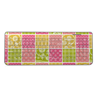 Zigzag, Polka Dots, Gingham - Green Pink Yellow Wireless Keyboard