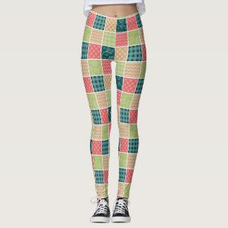 Zigzag, Polka Dots, Gingham - Green Red Blue Leggings