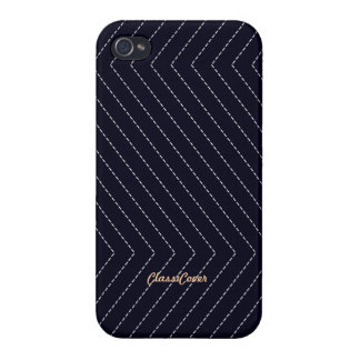 ZigZag Stripes Navy Blue Pattern Savvy Case For iPhone 4