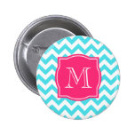 Zigzag Turquoise and Pink Custom Monogram Button