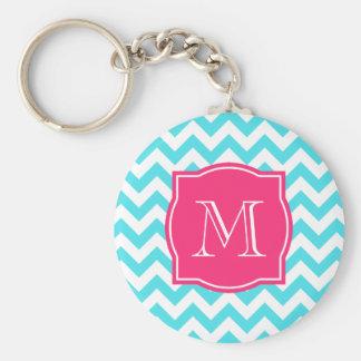 Zigzag Turquoise and Pink Custom Monogram Key Ring