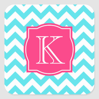 Zigzag Turquoise and Pink Custom Monogram Square Sticker