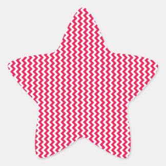 Zigzag - White and Electric Crimson Star Sticker
