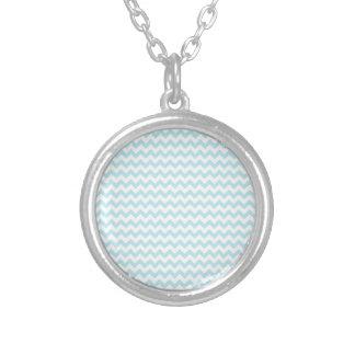 Zigzag Wide  - White and Blizzard Blue Pendant
