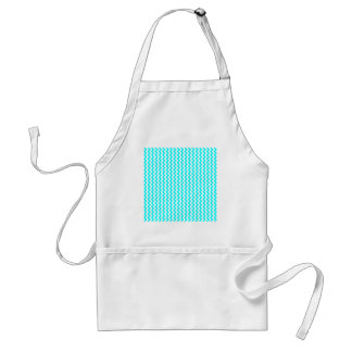 Zigzag Wide  - White and Cyan Aprons