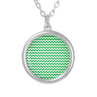 Zigzag Wide  - White and Dark Pastel Green Pendant