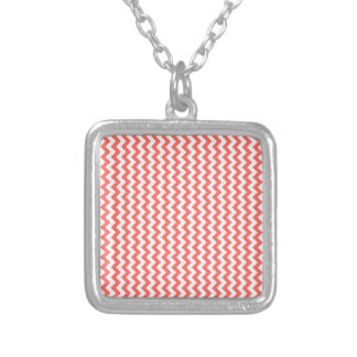 Zigzag Wide - White and Pastel Red Personalized Necklace