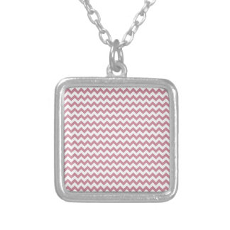 Zigzag Wide  - White and Puce Personalized Necklace