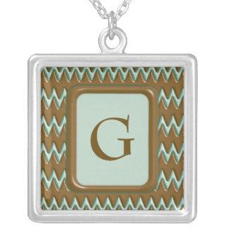 Zigzags - Chocolate Mint Square Pendant Necklace