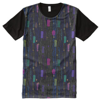 Zigzags vertical from lines an abstract All-Over print T-Shirt
