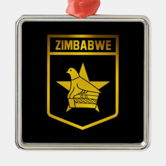 Zimbabwe Emblem Silver-Colored Square Decoration