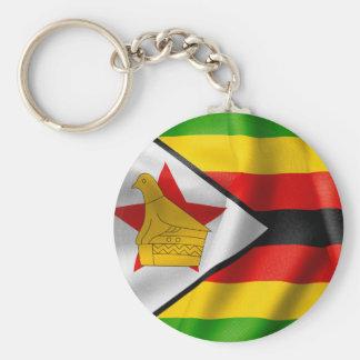 Zimbabwe Flag Basic Button Key Ring Basic Round Button Key Ring