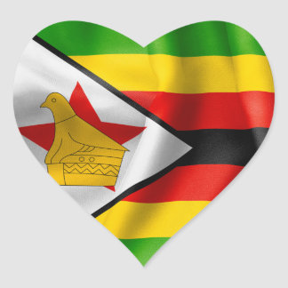 Zimbabwe Flag Heart Shaped Sticker