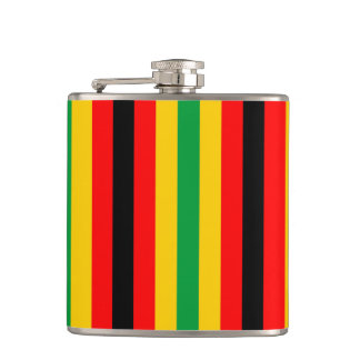 Zimbabwe flag stripes lines country colors hip flask