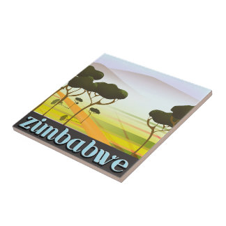 Zimbabwe landscape travel poster ceramic tile