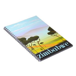 Zimbabwe landscape travel poster notebook