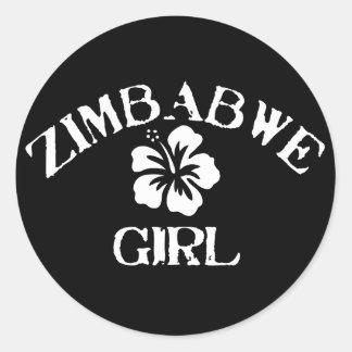Zimbabwe Pink Girl Round Sticker