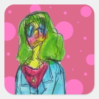 Zine Girl Square Sticker