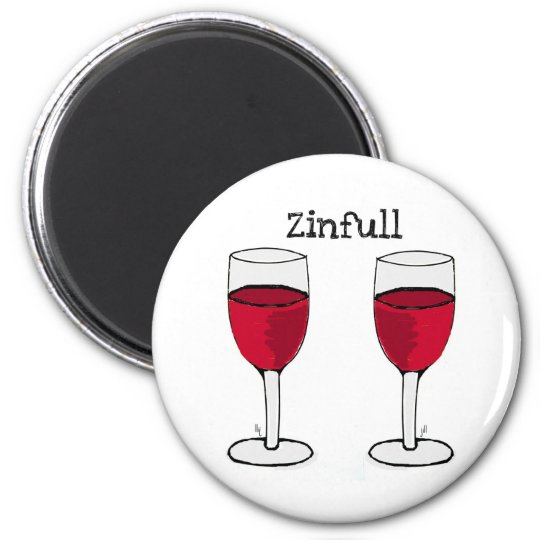 ZINFULL RED WINE PAIR PRINT by jill Magnet