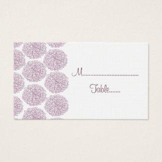 Zinnia Border Wedding Place Card, Purple Business Card