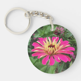 ZINNIA & DAHLIA - Vibrant Pink and Cream - Key Ring