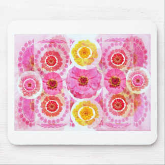 ZINNIA Flower Collage -  Artistic Transformations Mouse Pad