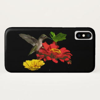 Zinnia Flowers and Hummingbird Bird iPhone X Case