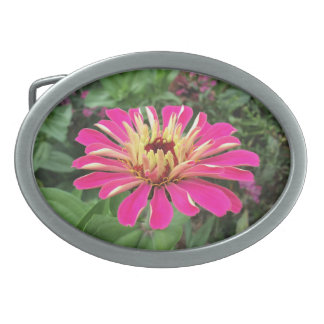 ZINNIA - Vibrant Pink and Cream - Oval Belt Buckle