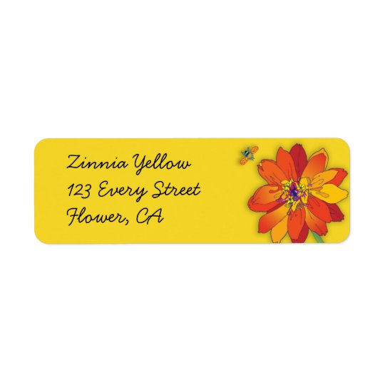 'Zinnia Yellow' Return Address Label