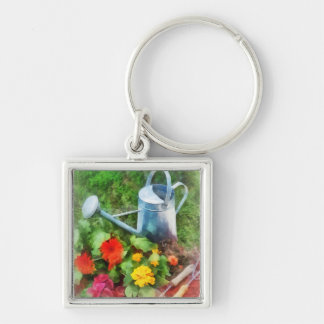 Zinnias and Watering Can Key Ring