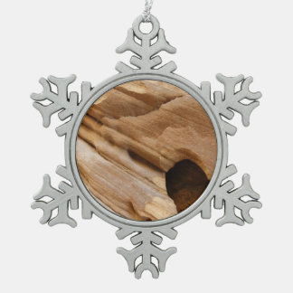 Zion Canyon Wall I Abstract Nature Photography Snowflake Pewter Christmas Ornament