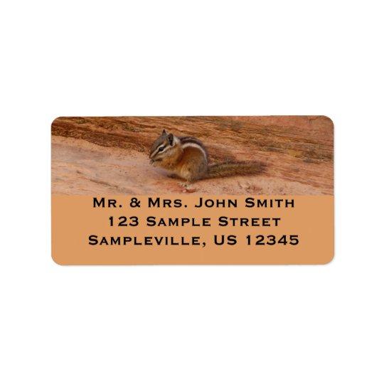Zion Chipmunk on Red Rocks Address Label