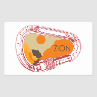 Zion Climbing Carabiner Rectangular Sticker