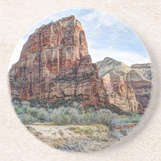 Zion National Park Angels Landing - Digital Paint Beverage Coaster