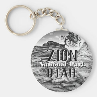 Zion National Park Bonsai Tree Black and White Key Ring