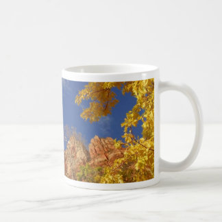 Zion National Park Tree With Yellow Leafs And Hill Coffee Mug