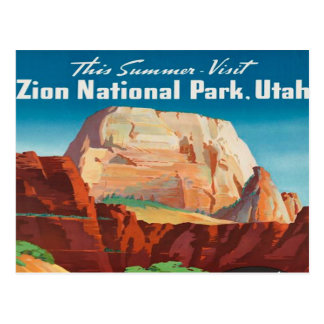 zion National Park Utah Vacation Vintage travel Postcard