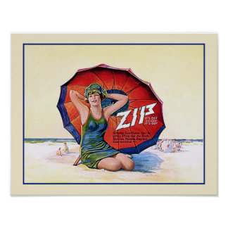 Zip Hair Remover Funny Vintage 1924 Ad Poster