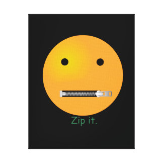 Zip It Happy Face Smiley - Black Background Canvas Prints