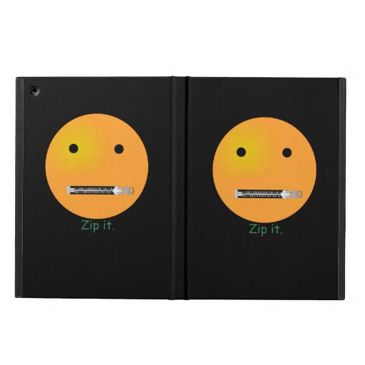 Zip It Happy Face Smiley - Black Background Cover For iPad Air