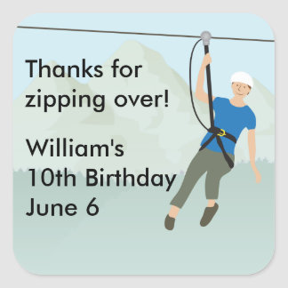 Zip Line Lining Birthday Favor Square Sticker